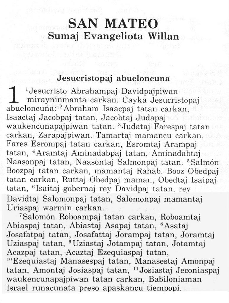 Quechua Language Words The Bible in quechua, ...